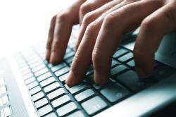 Person keyboarding